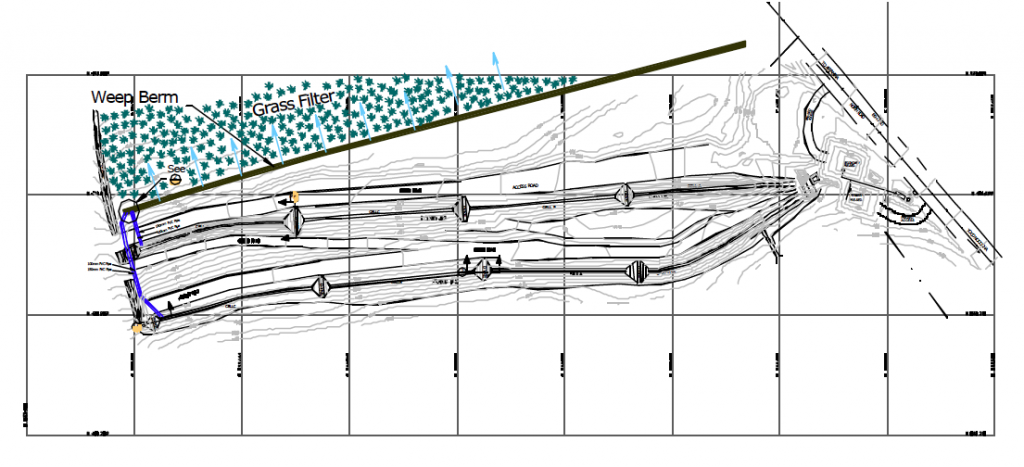 Plan-view of Km 97 Storm Water Sediment Control System Incorporating Porous Rock Check Dams in Elongated Gradient Ponds and a Weep Berm.