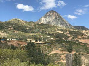 Mountain view over hillside village in Peru